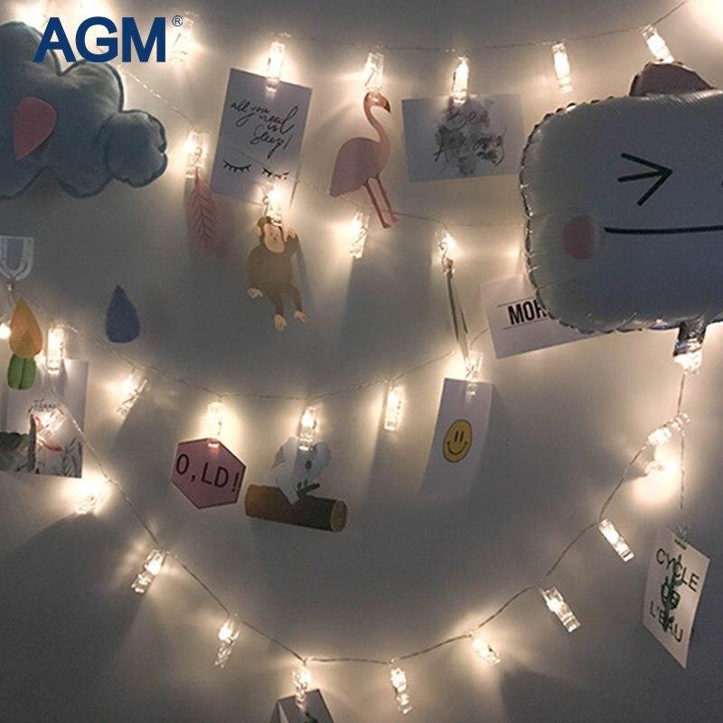 AGM LED Girlande Fee Lichterketten Foto Clip Batterie Luminaria Neuen Jahres Weihnachtskranz Dekoration Licht Für Zuhause Dekorative