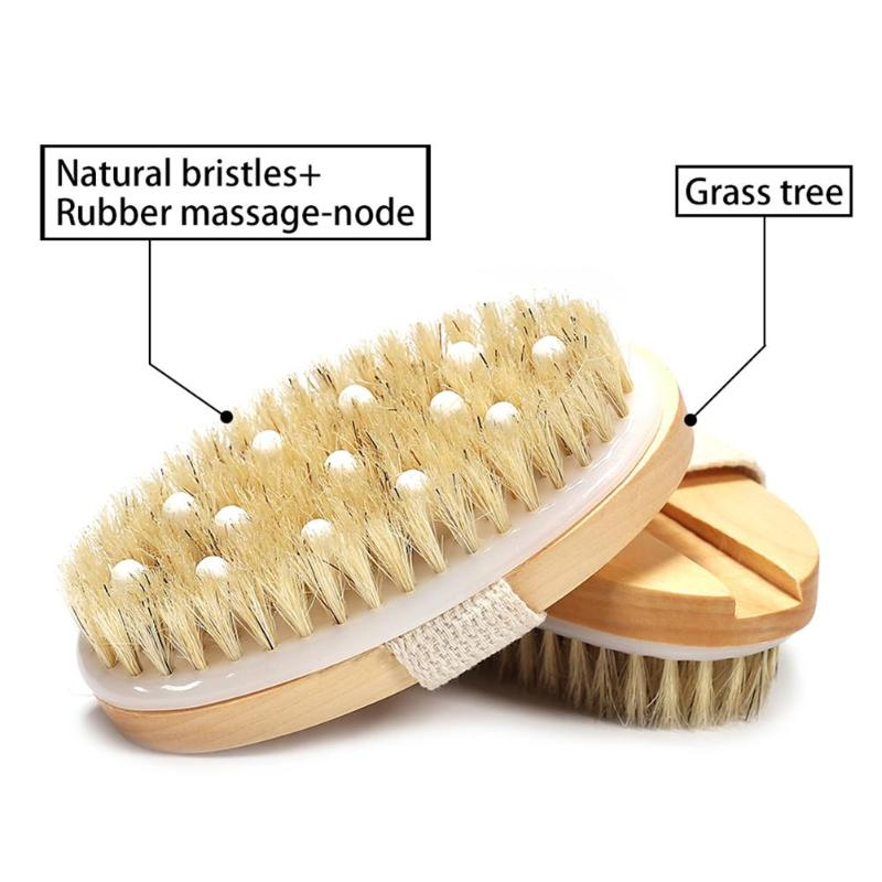 2 In 1 Wooden Natural Bristle Body Brush Dry Wet Bath Scrubber Massager Body Scrub Skin Exfoliating Bathing Brushing