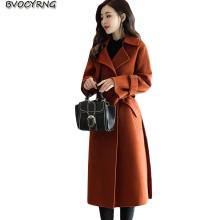 Autumn Winter Woolen Coat 2017New Wool Woolen Jacket Female Long Lace-up Slim Parka Fashion Big Yards Women Warm Outerwear Q917