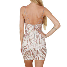Women spaghetti strap gold sequin dress bandage summer sexy dress sequined geometic women bodycon club dress
