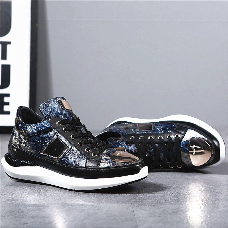 Inverno Alta Venda Zapatos 2018 Homem De Hombre Calçados Para Sapatos Casuais O Couro Mycolen Novo Quente Top Canvas Moda Homens Azul Vestir UIB65Wqx