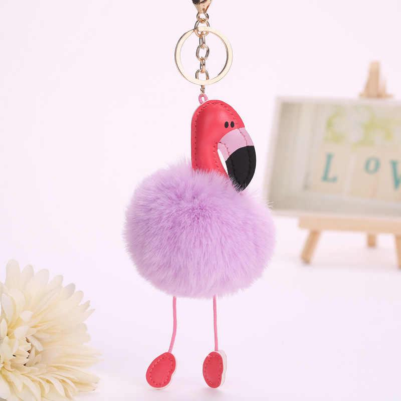 Flamingo bonito pompom keychain chaveiro fofo falso bola de pêlo de coelho mulheres saco pompom pom pom do anel chave do carro titular natal