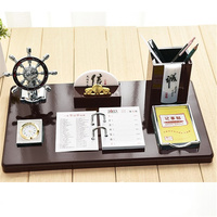 Modern Chinese Style Pen Holder With Calendar Office Home Decoration