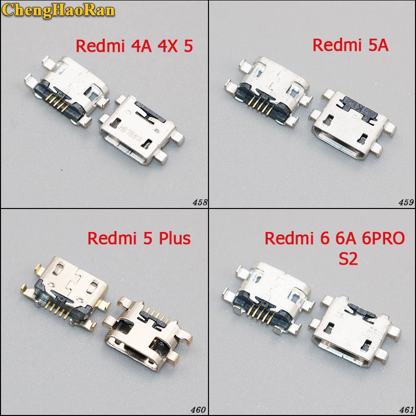 ChengHaoRan 5PCS 10PCS 5pin micro <font><b>usb</b></font> jack connector charging port socket female for xiaomi redmi 4A 4X <font><b>5</b></font> 5A 5PLUS <font><b>6</b></font> 6A 6PRO S2 image