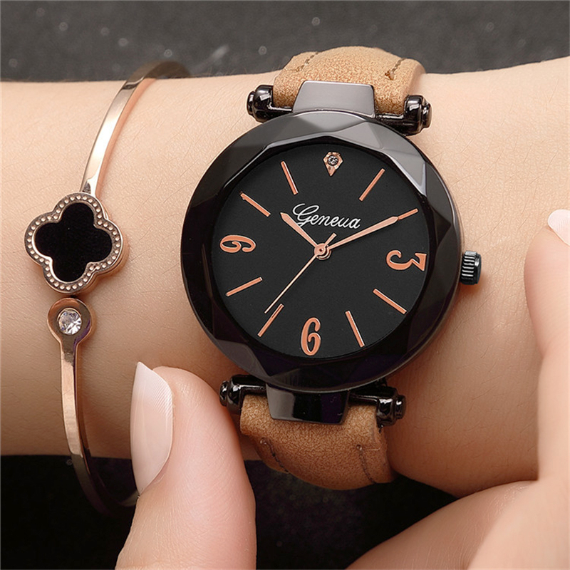 2018 New Ladies Watches Top Brand Luxury Geneva Watches Women Fashion Watch Leather Strap Woman Casual Dress Clock Montre Femme fashion tower geneva cartoon watch women leather strap bracelet kids quartz watches cartoon watch girl boy clock montre femme