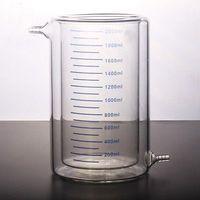 2000ml Laboratory Jacketed Borosilicate Glass Beaker Double Layer Beaker for Photocatalytic Experiment