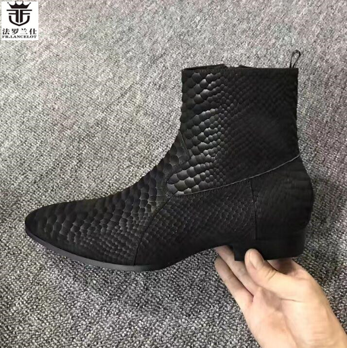 FR.LANCELOT 2018 snakeskin print leather boots fashion matt Leather ankle botas party shoes male zip up motorcycles men booties fr lancelot 2018 new arrival star boots men real leather boots glitter sequin leather booties zip up men party shoes