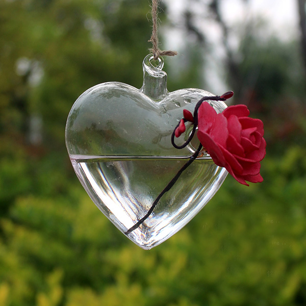 Clear Angel Shape Glass Hanging Vase Terrarium Pot Table Garden Decor