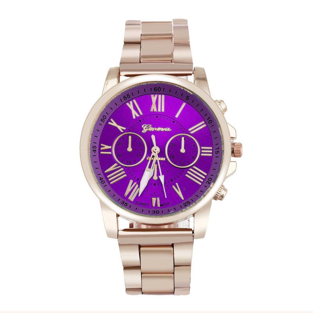 Фото Fashion Luxury Women Men Watches Gold Stainless Steel Band Bright Color Clocks Roman Number Quartz Wrist Watch Creative Jun14
