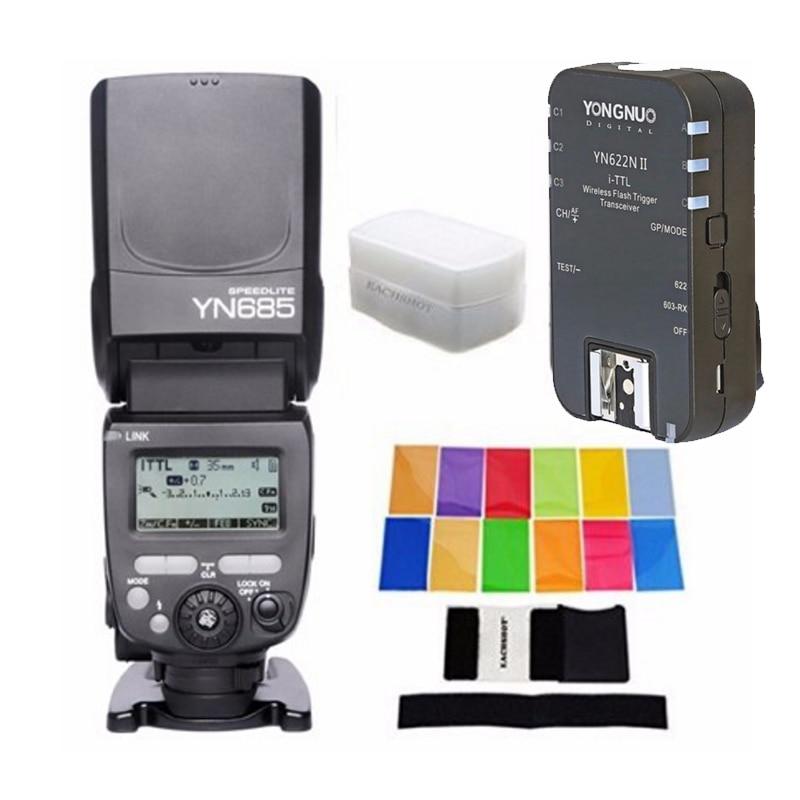 YONGNUO YN685N YN685 for Nikon HSS TTL Speedlite Flash Build in Receiver with YN622N II RX + 12 PCS COLOR CARD + DIFFUSERYONGNUO YN685N YN685 for Nikon HSS TTL Speedlite Flash Build in Receiver with YN622N II RX + 12 PCS COLOR CARD + DIFFUSER