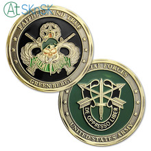 Latest retro coin bronze plated Skull crafts Green Beret metal collectible Special Forces Unite States Army challenge coins