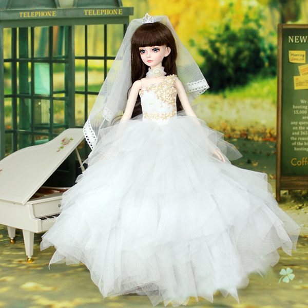 [wamami] 400# White Sequined Dress/Wedding Dress For 1/3 SD DOD AOD DZ BJD Doll 1 pcs doll camera for bjd doll diy 1 4 1 3 dod as dz sd doll accessory key chains toys sound gift free shipping