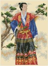 Coleção de ouro Populares Contados Kit Ponto Cruz Do Homem com a Espada de Samurai Guerreiro Herói dim 6813