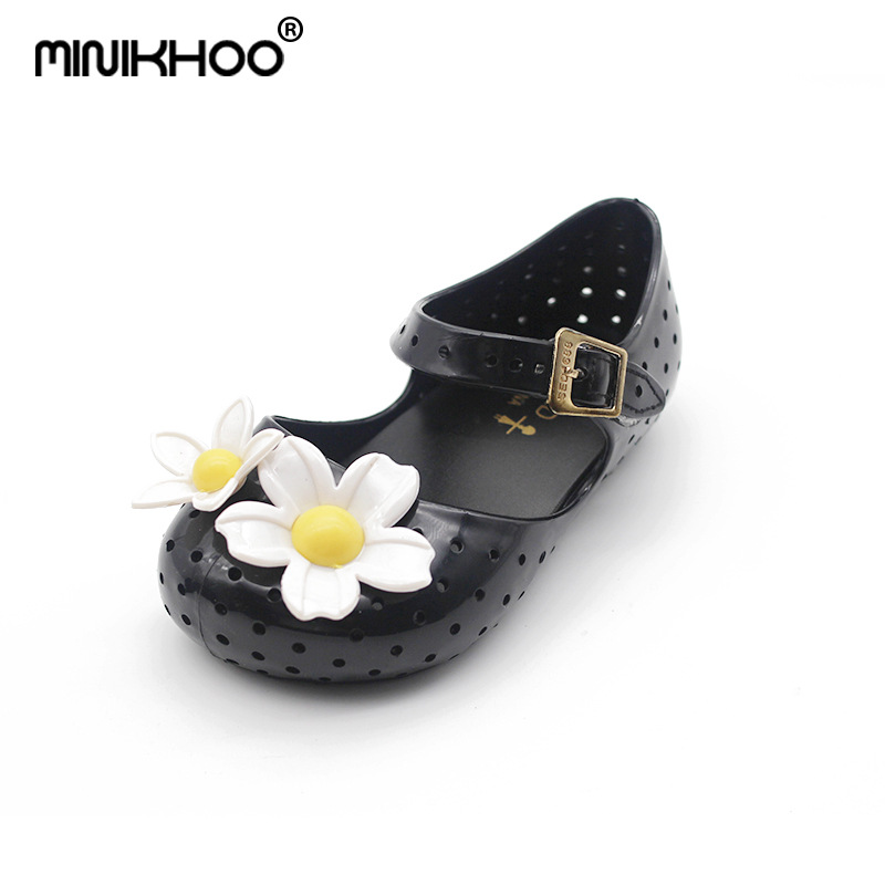 Mini Melissa New Cute Flowers Girl Jelly Sandals Shoes Soft Bottom Girl Brazil MINI Sandals Breathable 14-16.5cm High Quality