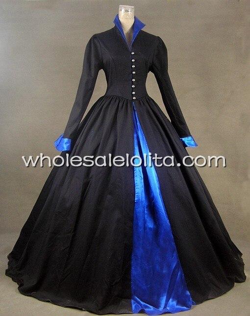 Викторианский Tudor Готический атласный хлопок платье панк - Цвет: Черный