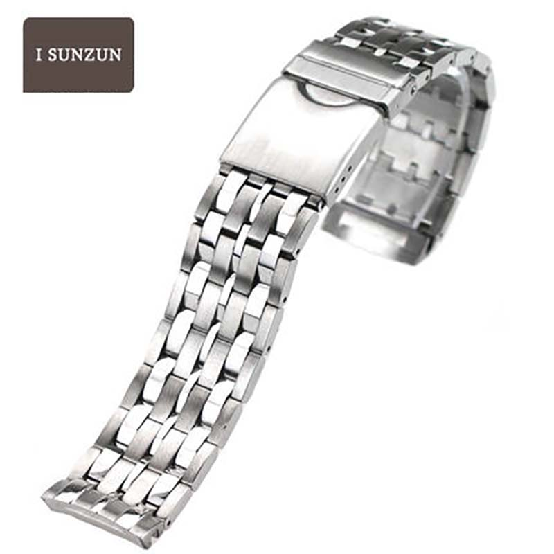 ISUNZUN Women And Men Stainless Steel Watchbands For Tissot T008 PRC100 T22 Metal Bracelet 17/20mm Width Durable Watch Straps