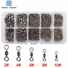 Wholesale prices Easy Catch 500pcs/set Rolling Fishing Swivel With Solid Ring Fishing Hook Line Connector Set With Box