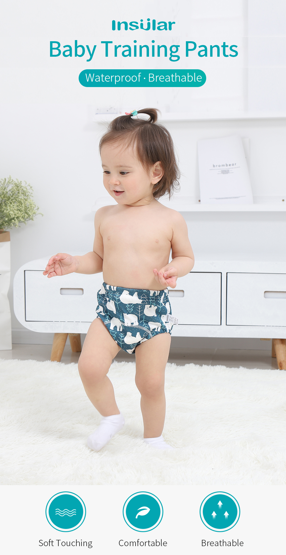 Baby Cloth Diaper Underwear Infants Reusable Nappies Washable Training Pants AM
