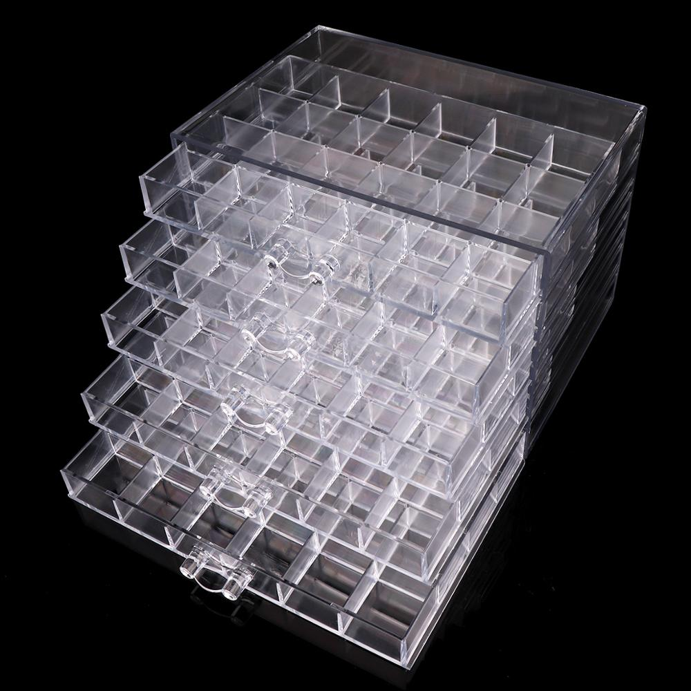 120 Grids Plastic Empty Nail Art Storage Box Nail Tools Jewelry Rhinestone Beads Nail Polish Case Organizer Pullable Container