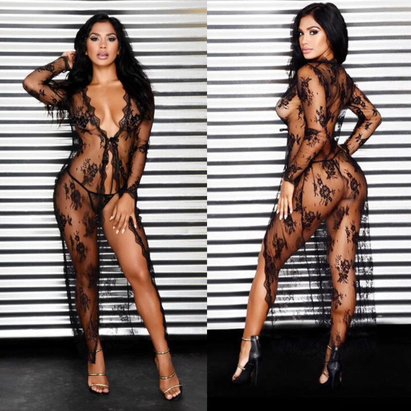 Women's Sexy Lace Dress Long Lingerie Sheer See Through Robe Set With G String