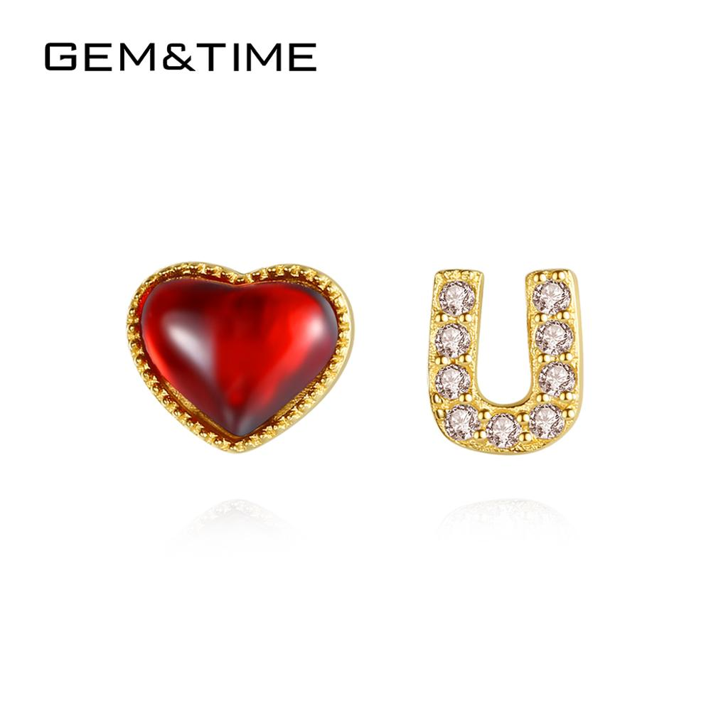 Gem&Time Pure Heart U 14k Gold Stud Earrings for Women Engagement Wedding Yellow Gold Jewelry Agate Brincos Au585 Gifts E14085