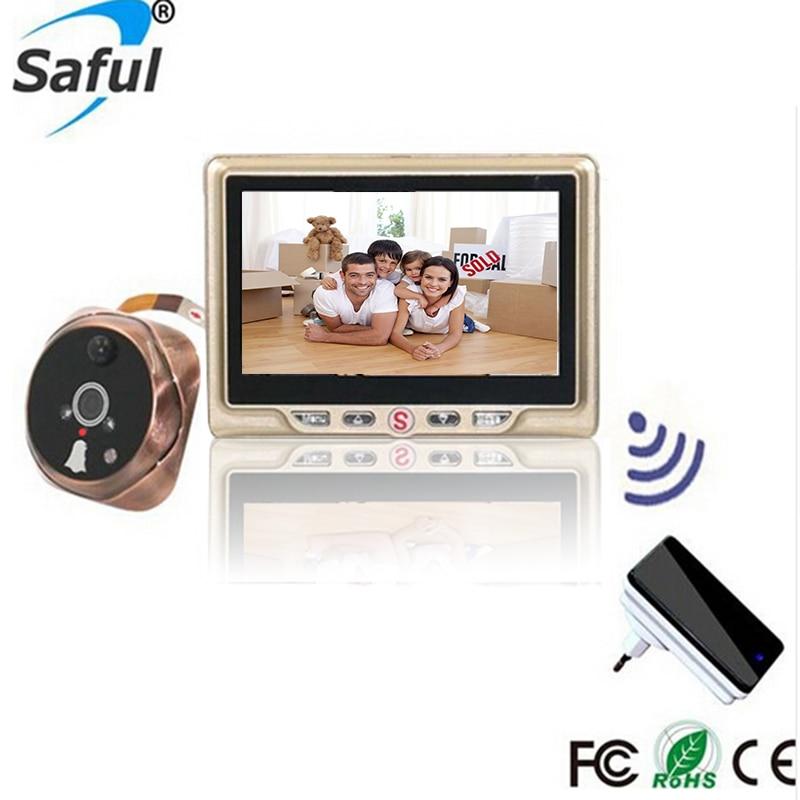 Saful 4.3 Porte Numérique Judas Spectateur Numérique Viseur Vidéo Appel potes Vue de la porte Interphone Doorbel avec Caméra