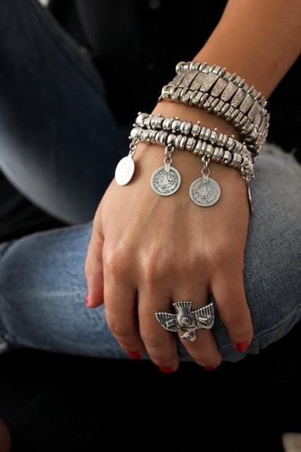 Indian Bohemian Vintage Tibetan Turkish Silver Alloy Bracelet Gypsy Beach Chic Festival Coin Statement