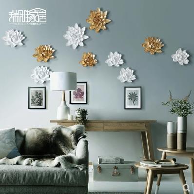 Dreidimensionale Wandsticker, Lotus- und Pfingstrosenblumen, - Wohnkultur - Foto 3