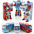1pcs New Style Robot Transformation Bus Car Toys Alloy Deformation Police Robot Bus Toys For Kids children Gifts