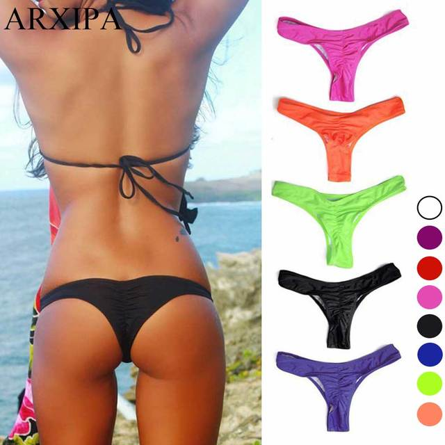 2ce3508ad0 ARXIPA 2018 Women s Swimming Trunks Ruch Bikini Bottom Thong Swimsuit  Panties Sexy Beach Shorts Plus Size Brazilian 3XL 4XL 5XL