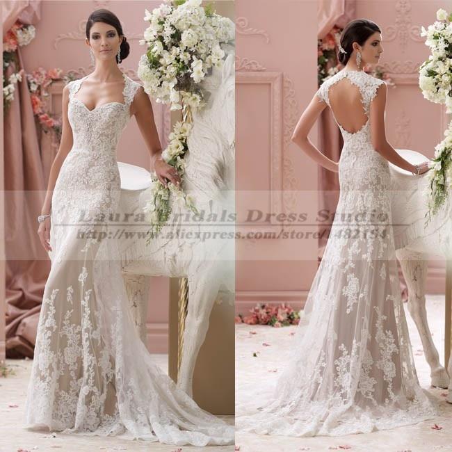 Vestidos de noiva sereia vintage sexy open back lace for Sexy classy wedding dress