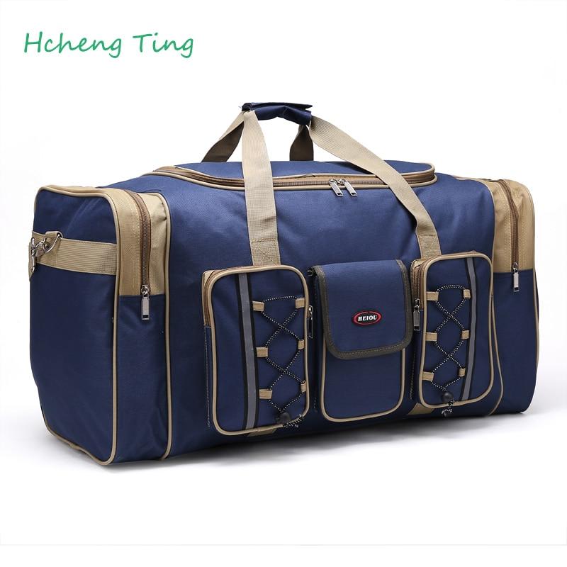 Thick Canvas Causal Duffle Bag Waterproof Mens Travel Bags Long Strap Anti scratch Muliti pocket Large