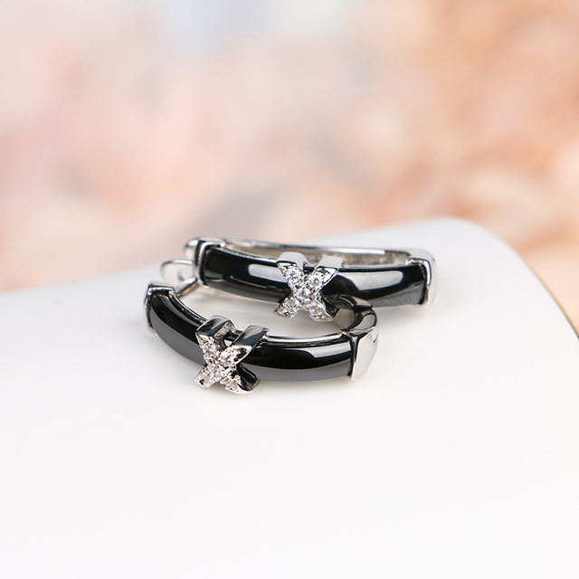 New U Shape Clip Up Women Earrings With X Crystal Rhinestone Healthy Black White Ceramic Earring for Women Wedding Jewelry Gifts 4