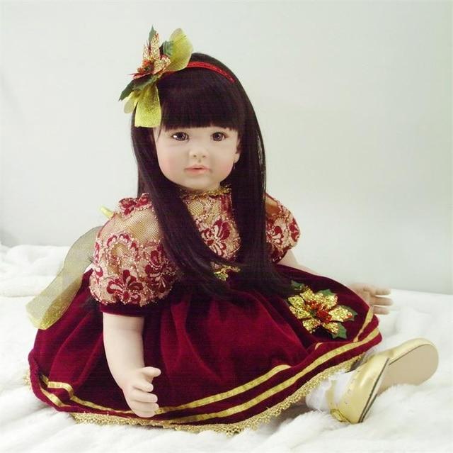 60cm Silicone Vinyl Reborn Baby Doll Toy Lifelike Vinyl Toddler Princess Girl Babies With Long Dress