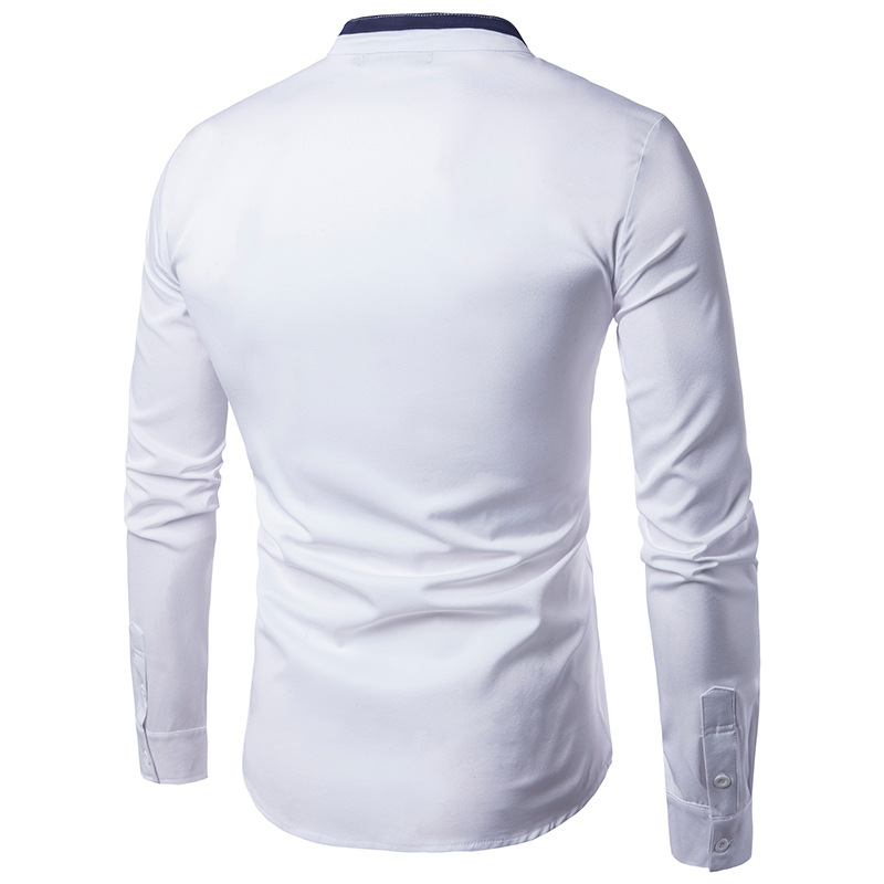 Men Novelty covered button mandarin collar  slim fit long Sleeve