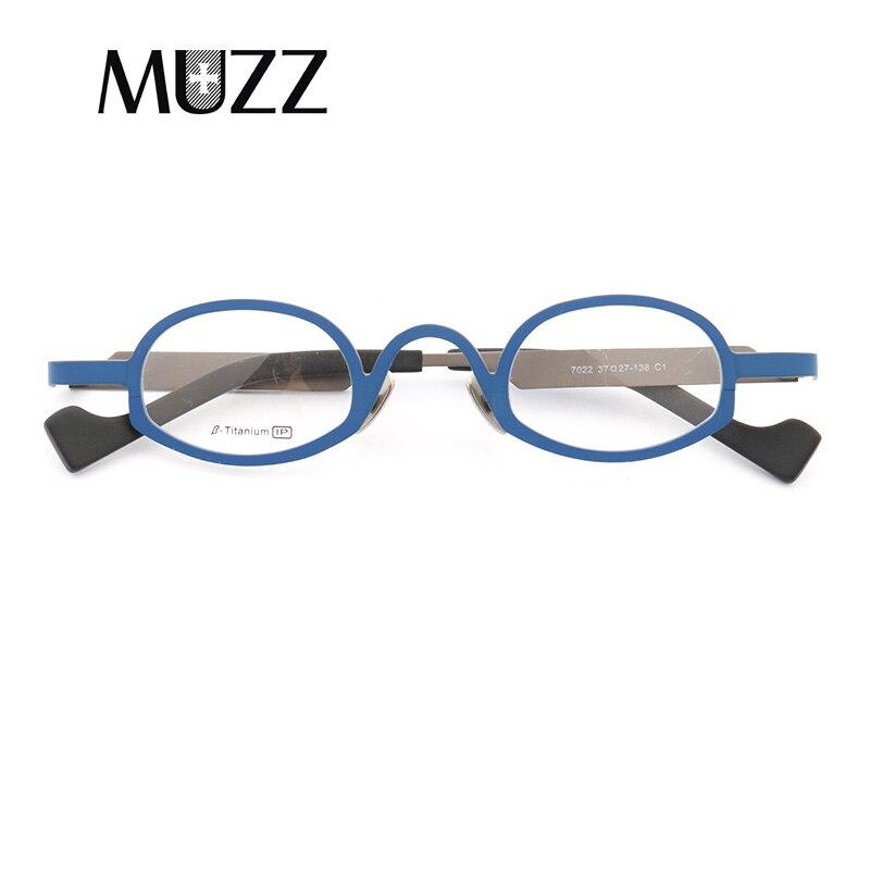MUZZ New Pure Titanium Frames Men s Optical Irregular Super Small full rim Eyeglasses Frame high