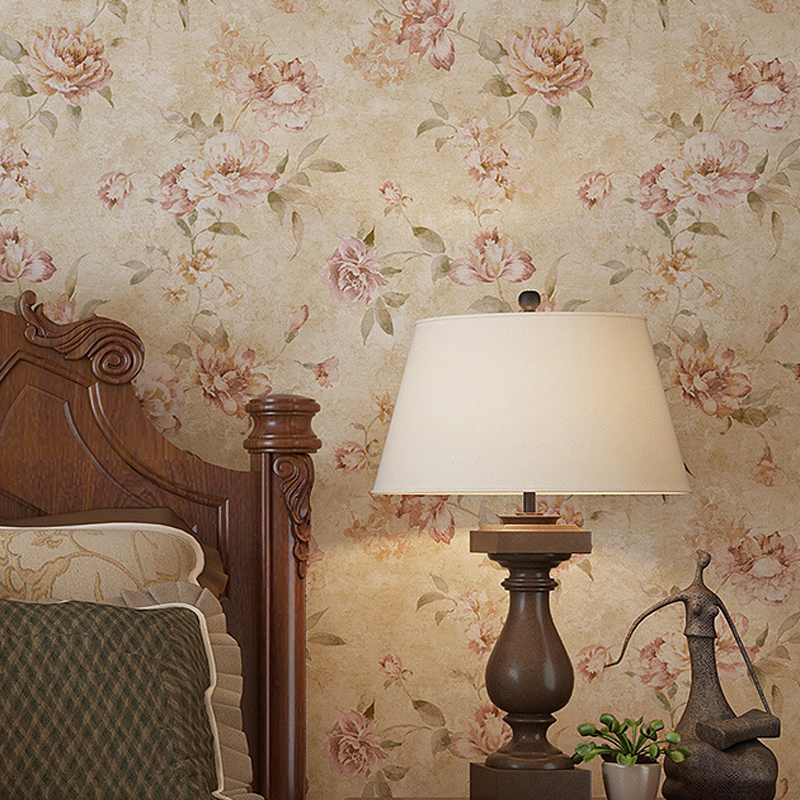 Country vintage flowers wallpaper non woven wall paper for Country wall mural
