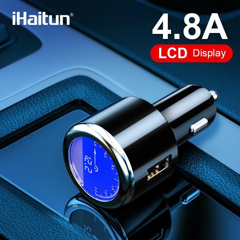 4.8A iHaitun Luxo LCD USB Carregador de Carro Para Samsung S9 S10 Rápida USB 3.0 3.1 Carga Rápida Para iPhone Xiaomi redmi K20 Oneplus 7 X