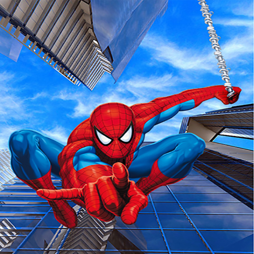 8x8ft Spiderman Spider Man Spidey Blue Sky Skyscraper Kids