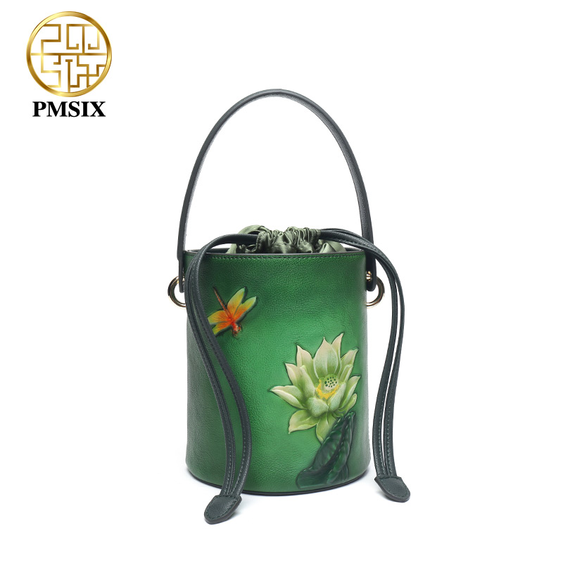 Pmsix 2019 genuine leather bags for women Embossed Bucket bag ancient Cow Leather Handbags P210054