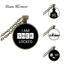 New Punk Style Sherlock Holmes Pendant Necklace I Am Sher Locked Pendants Round Picture Jewelry Glass Cabochon NecklacesHZ1