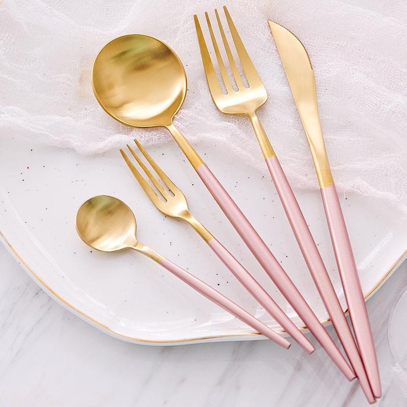 KuBac 30 piezas Juego de cubiertos de oro rosa juego de vajilla de acero inoxidable 18/10 cuchillo cuchara juego de cubiertos con pequeño la fruta Forks-in Juegos de vajilla from Hogar y Mascotas    1