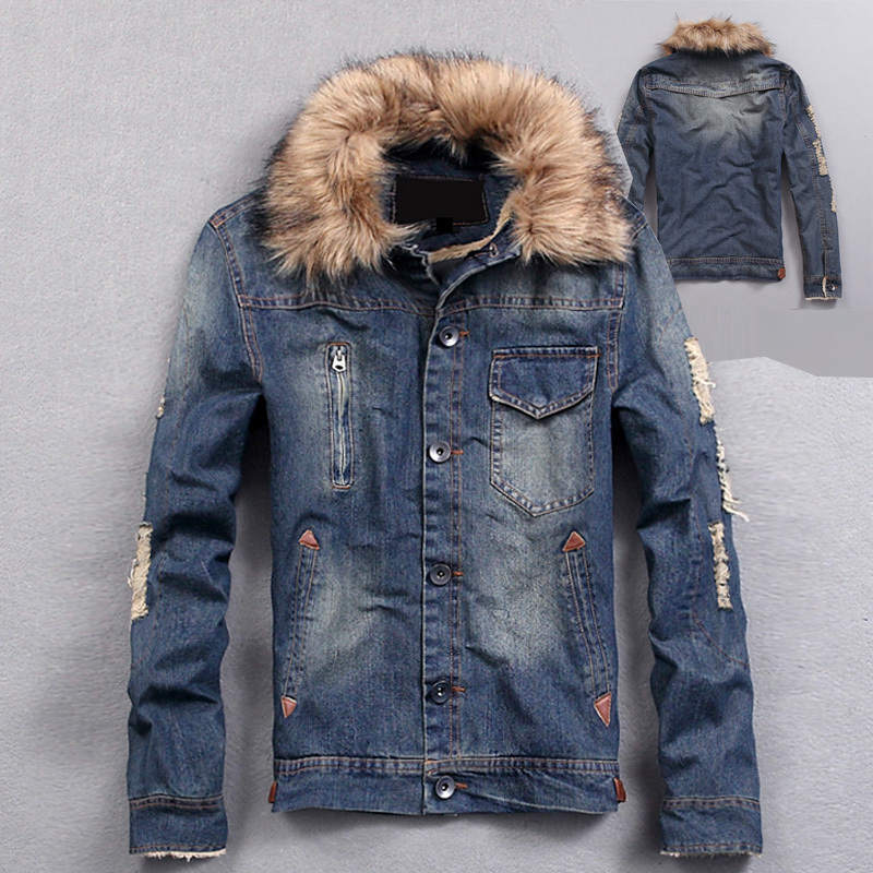Autumn Winter Mens Fashion Denim Jacket , Men's clothing , Hole ...