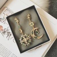 South Korea Sun Moon Pendant Gem Earrings Exaggerated Temperament Long Earrings Jewelry 9 Female Earrings Earrings