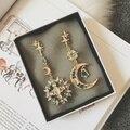 Известная марка сплава цинка барокко ретро стиль корея солнце луна золото длинные серьги самоцветы женщин ювелирных изделий подруга подарок