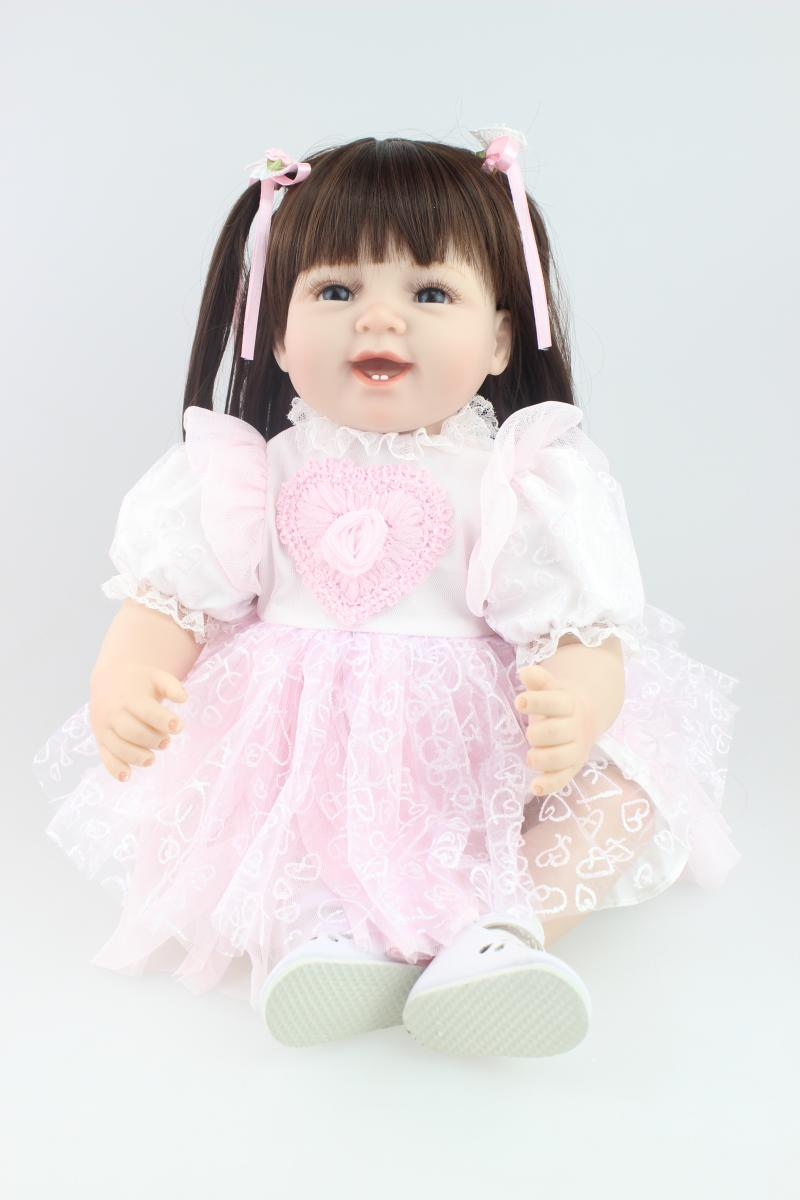 Dolls Dolls & Stuffed Toys 55cm Silicone Bebe Reborn Girl Doll Npk 22 Inch Baby Alive Boneca Soft Toys Kids Playmate Costume Model