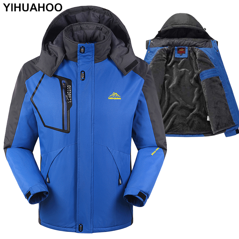 YIHUAHOO Winter Jacket Men 6XL 7XL 8XL Casual Thick Warm Fleece   Parka   Waterproof Male Puffer Jacket Coat Hooded Windbreaker Men