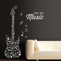 Fashion Music Vinyl Wall DecalGuitar Feel Notes Melody Electro Music Rock Star Wings Art Wall Sticker Music Room Home Decoration