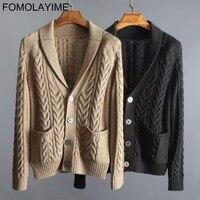 FOMOLAYIME кардиган Для мужчин 2018 Высокая мода Повседневное осень зима толстые Для мужчин вязаный свитер кардиган Для мужчин шерстяной свитер