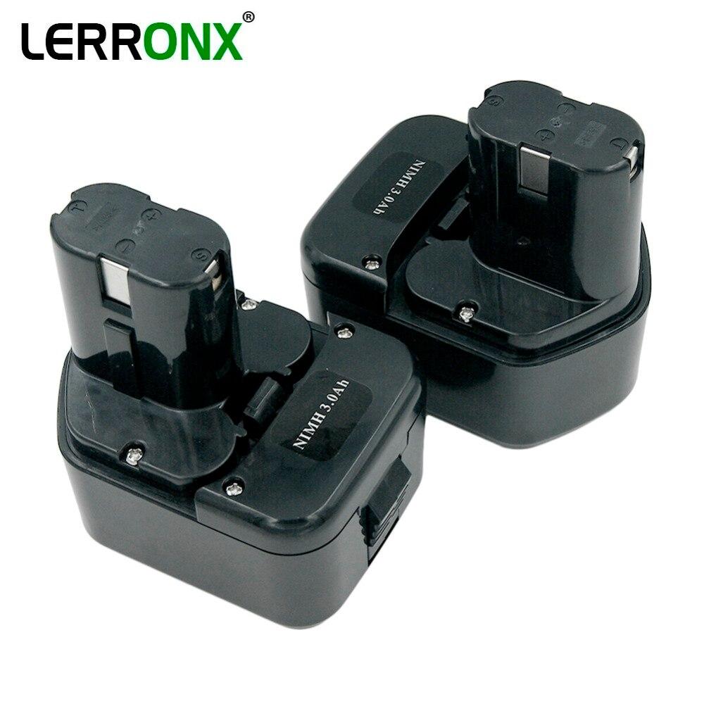 LERRONX 2 pièces 12 V 3.0Ah NI-MH remplacement de batterie Rechargeable pour Hitachi outil électrique EB1212S EB1214S EB1230X EB1220BL Bateria